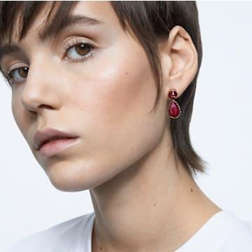 Orbita 穿孔耳环, 不对称, 水滴切割仿水晶 , 流光溢彩, 镀金色调 - Swarovski, 5600523