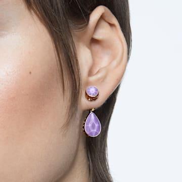 Pendientes Orbita, Asimétrico, Cristales con talla de pera, Blanco, Baño tono oro - Swarovski, 5600523