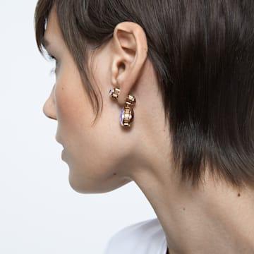 Orbita 穿孔耳环, 不对称, 水滴切割仿水晶 , 白色, 镀金色调 - Swarovski, 5600523