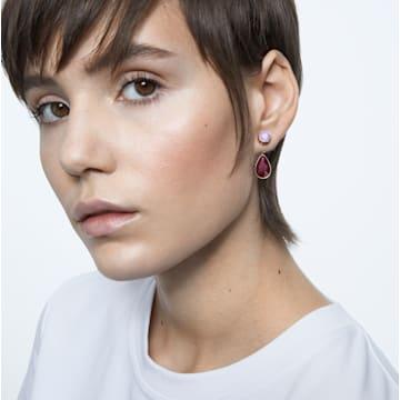 Orbita earrings, Asymmetrical, Drop cut crystals , White, Gold-tone plated - Swarovski, 5600523