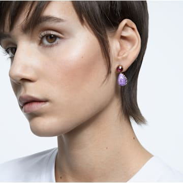 Orbita earrings, Asymmetrical, Drop cut crystals, Multicolored, Gold-tone plated - Swarovski, 5600523