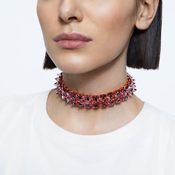 Chroma 頸鍊, 釘狀切割Swarovski 水晶, 粉紅色, 鍍金色色調 - Swarovski, 5600620