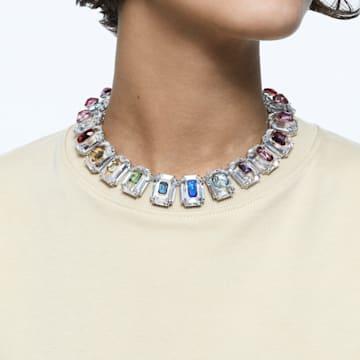 Chroma choker, Oversized crystals, Multicolored, Rhodium plated - Swarovski, 5600626