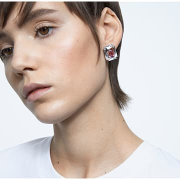 Chroma 耳钉, 粉红色, 镀铑 - Swarovski, 5600627