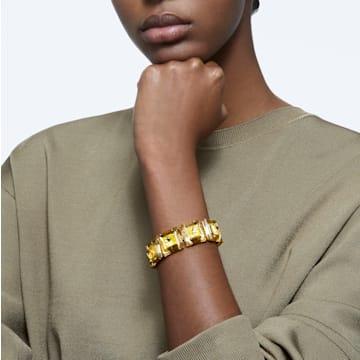 Bracelet Chroma, Cristaux taille coussin, Jaune, Placage de ton or - Swarovski, 5600669