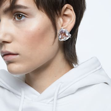 Mesmera 클립 귀걸이, 싱글, 트라이앵글 컷 크리스털, 화이트, 로듐 플래팅 - Swarovski, 5600752