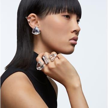 Mesmera clip earring, Single, Triangle cut crystal, White, Rhodium plated - Swarovski, 5600752