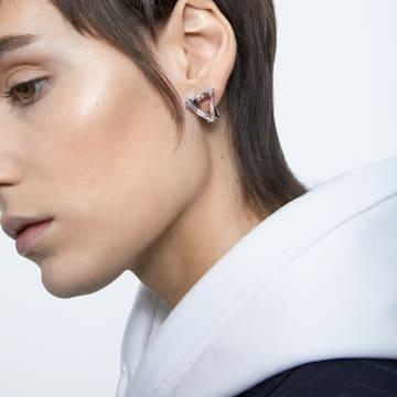 Boucle d'oreille à clipper Mesmera, Mono, Delta, Blanc, Métal rhodié - Swarovski, 5600753