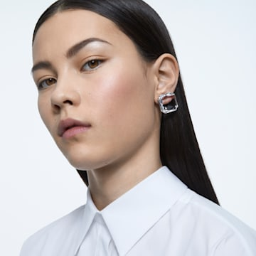 Boucle d'oreille à clipper Mesmera, Mono, Cristal taille carré, Blanc, Métal rhodié - Swarovski, 5600756