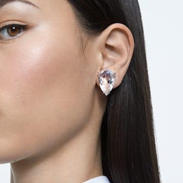 Boucle d'oreille à clipper Mesmera, Mono, Cristal taille trillion, Blanc, Métal rhodié - Swarovski, 5600758