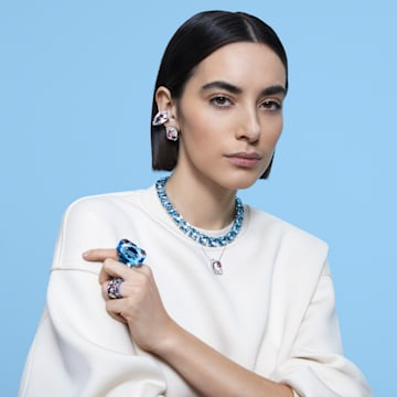 Mesmera 夹式耳环, 单个, 三棱形切割仿水晶, 白色, 镀铑 - Swarovski, 5600758