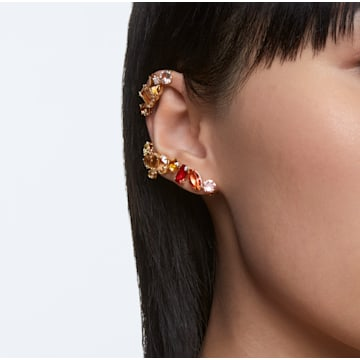 Gema clip earrings, Asymmetrical, White, Gold-tone plated - Swarovski, 5600763