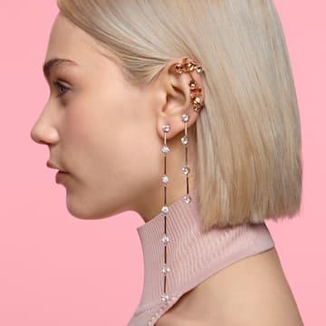 Boucle d'oreille à clipper Gema, Mono, Parure, Blanc, Métal doré - Swarovski, 5600763
