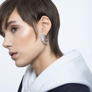 Matrix earrings, White, Rhodium plated - Swarovski, 5600776