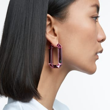 Lucent hoop earrings, Pink, Rhodium plated - Swarovski, 5600786