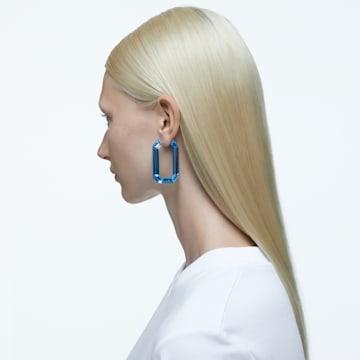Lucent 大圈耳环, 蓝色, 镀铑 - Swarovski, 5600788