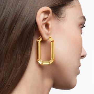 Lucent hoop earrings, Yellow, Rhodium plated - Swarovski, 5600789