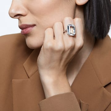 Mesmera 鸡尾酒戒指, 八角形切割仿水晶, 白色, 镀铑 - Swarovski, 5600855
