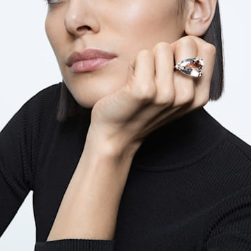 Mesmera 个性戒指, 三棱形切割仿水晶, 白色, 镀铑 - Swarovski, 5600856