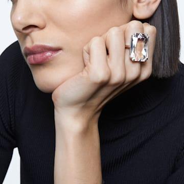 Mesmera 鸡尾酒戒指, 超大仿水晶, 白色, 镀铑 - Swarovski, 5600858