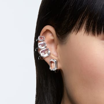Pendiente de clip Mesmera, Suelto, Cristal de talla octogonal, Blanco, Baño de rodio - Swarovski, 5600860