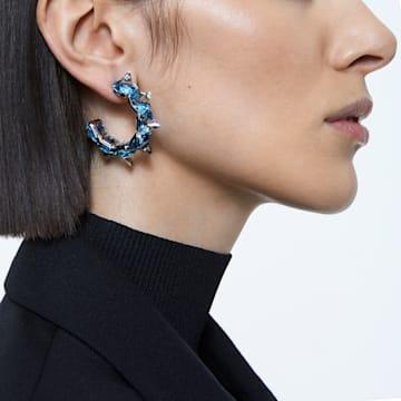 Chroma 大圈耳环, 蓝色, 镀铑 - Swarovski, 5600894