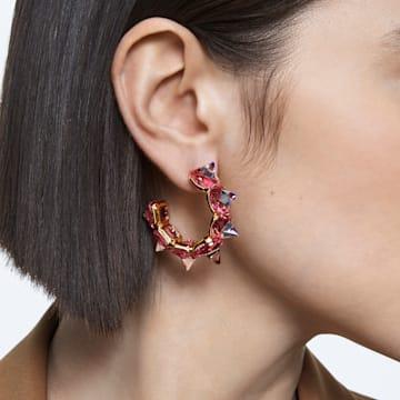 Chroma 大圈耳环, 粉红色, 镀金色调 - Swarovski, 5600895