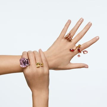 Δαχτυλίδι κοκτέιλ Millenia, Κρύσταλλα τετράγωνης κοπής, Κίτρινο, Επιμετάλλωση σε χρυσαφί τόνο - Swarovski, 5600916