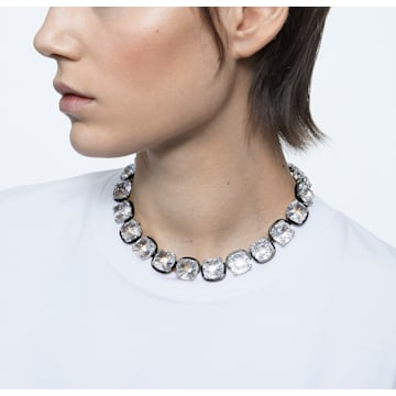 Harmonia 束颈项链, 枕形切割仿水晶, 白色, 多种金属润饰 - Swarovski, 5600942