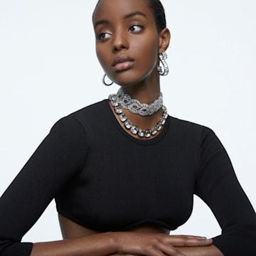 Obojkový náhrdelník Harmonia, Křišťály s výbrusem Cushion, Bílá, Smíšený kovový povrch - Swarovski, 5600942