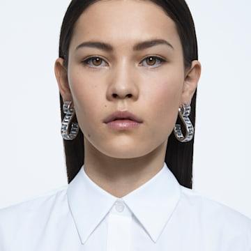 Matrix S 穿孔耳环, 白色, 镀铑 - Swarovski, 5600973