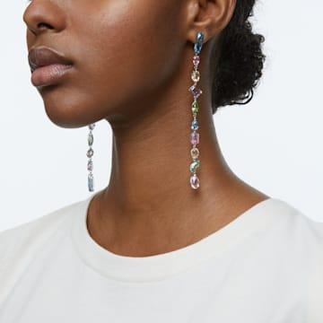 Gema Drop Earrings, Extra long, Multicoloured, Rhodium plated - Swarovski, 5600979
