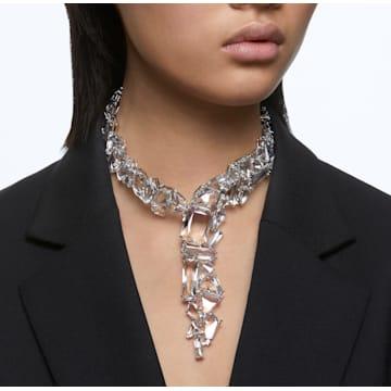 Mesmera Y necklace, Oversized crystals, White, Rhodium plated - Swarovski, 5601526