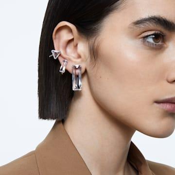 Boucle d'oreille à clipper Mesmera, Mono, Parure, Cristal taille baguette, Blanc, Métal rhodié - Swarovski, 5601534