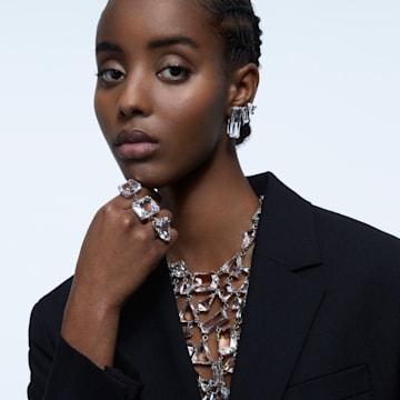 Mesmera 夹式耳环, 单个, 套装, 长方形切割仿水晶, 白色, 镀铑 - Swarovski, 5601534