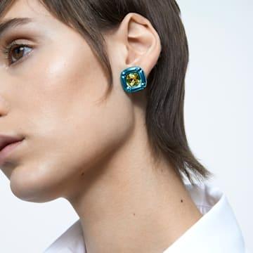 Clous d'oreilles Dulcis, Cristaux taille coussin, Bleu - Swarovski, 5601588