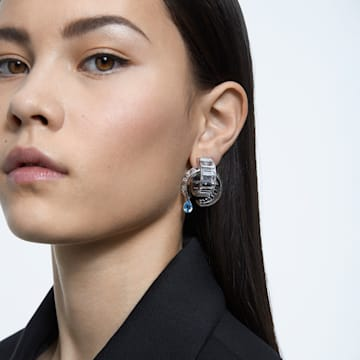 Matrix 穿孔耳环, 白色, 镀铑 - Swarovski, 5601630