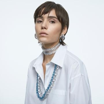 Matrix 穿孔耳环, 蓝色, 镀铑 - Swarovski, 5601630