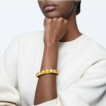 Orbita 手鏈, 方形切割Swarovski水晶, 白色, 鍍金色色調 - Swarovski, 5601885