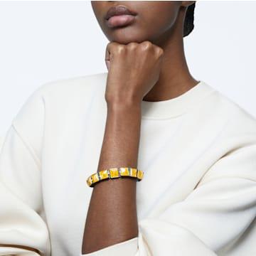 Orbita armband, Kristal met Square-slijpvorm, Wit, Goudkleurige toplaag - Swarovski, 5601885