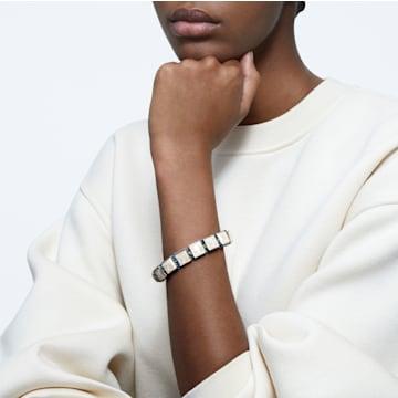 Pulseira Orbita, Cristal de lapidação quadrada, Branco, Lacado a dourado - Swarovski, 5601885