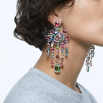 Gema 夹式耳环, 垂饰, 流光溢彩, 镀铑 - Swarovski, 5601887