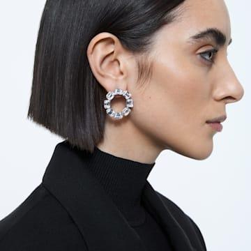 Millenia 穿孔耳环, 环形切割, 白色, 镀铑 - Swarovski, 5602780