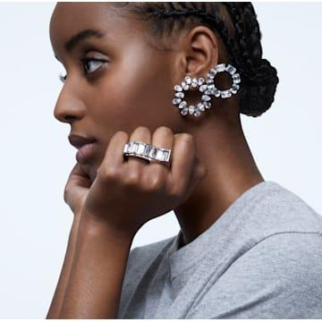 Millenia 穿孔耳環, 圓形切割, 白色, 鍍白金色 - Swarovski, 5602780