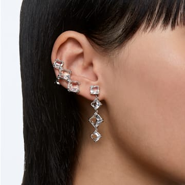 Millenia drop earrings, Single, White, Rhodium plated - Swarovski, 5602782