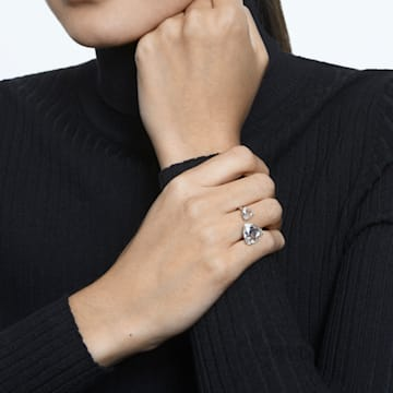 Δαχτυλίδι κοκτέιλ Millenia, Κρύσταλλα τρίγωνης κοπής, Λευκό, Επιμετάλλωση ροδίου - Swarovski, 5602847