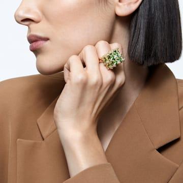 Curiosa Cocktail 戒指, 正方形切割, 綠色, 鍍金色色調 - Swarovski, 5606948