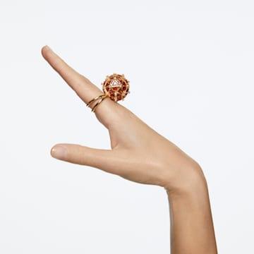 Curiosa cocktail ring, Circle, Orange, Gold-tone plated - Swarovski, 5606949