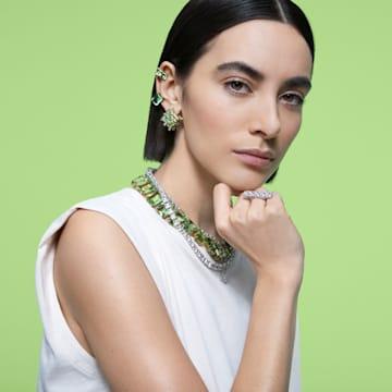 Curiosa stud earring, Single, Green, Gold-tone plated - Swarovski, 5606950