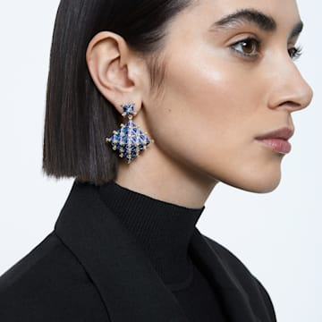 Curiosa stud earring, Single, Square, Blue, Gold-tone plated - Swarovski, 5607211